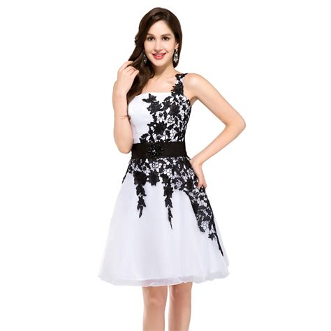 One Shoulder Dress Black White black and white cocktail dresses discount evening dresses