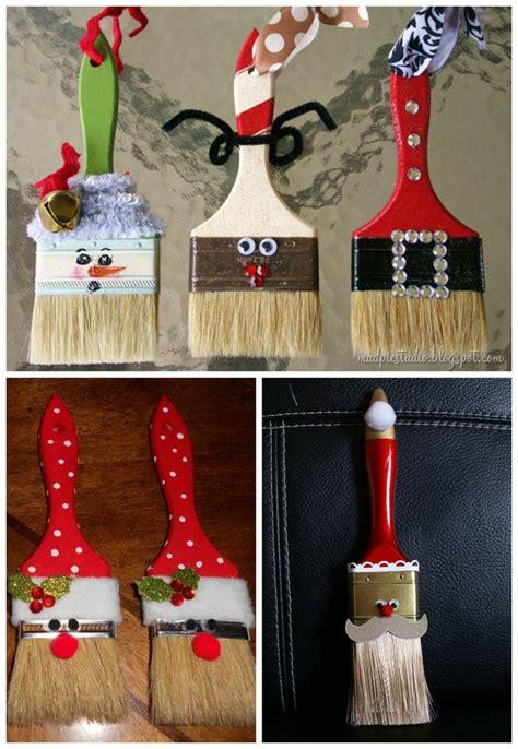 diy paint brush santa ornaments share  craft