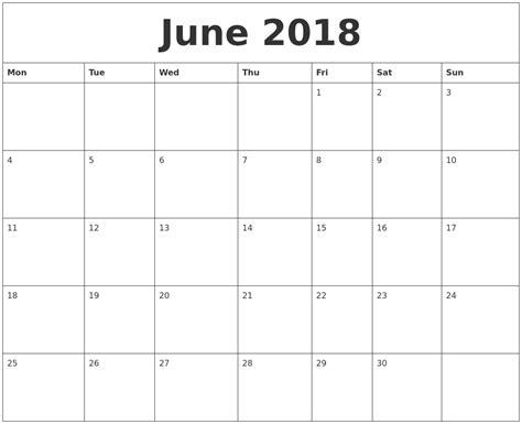 june print monthly calendar