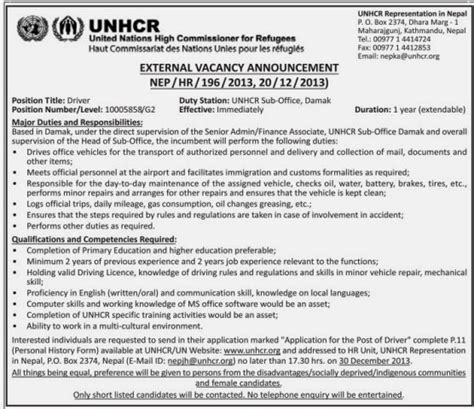 application letter unhcr mega nepal driver vacancy unhcr nepal