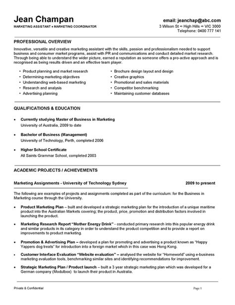 exle of cv resume for professional cv template australia