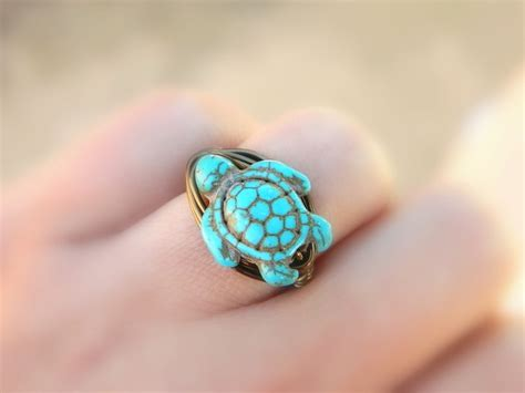 turtle turquoise ring turquoise ring bohemian jewelry to