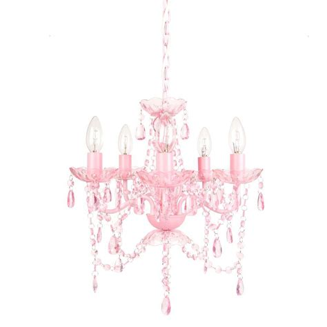 Small Pink Chandelier Tadpoles 5 Light Pink Sapphire Chandelier Cch5pl004 The Home Depot