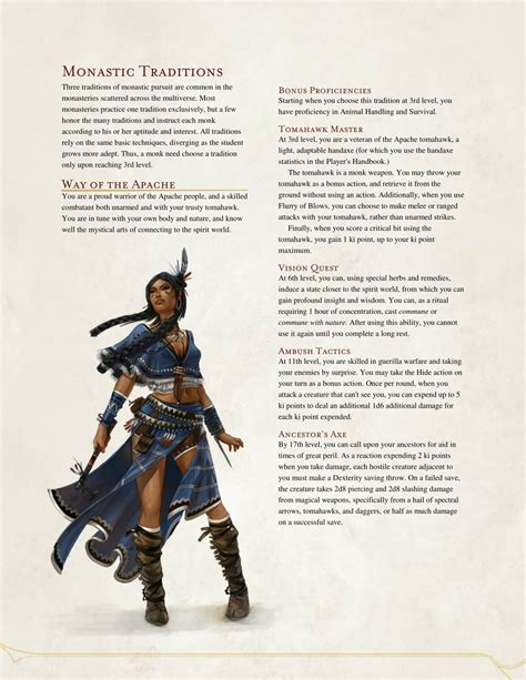 The Monk Who Cast A Spell dnd 5e homebrew way of the apache monk by the i