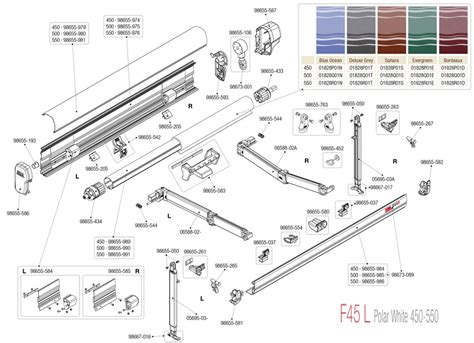 fiamma f45 awning parts caravansplus spare parts diagram fiamma f45 l 450 550 awning polar white