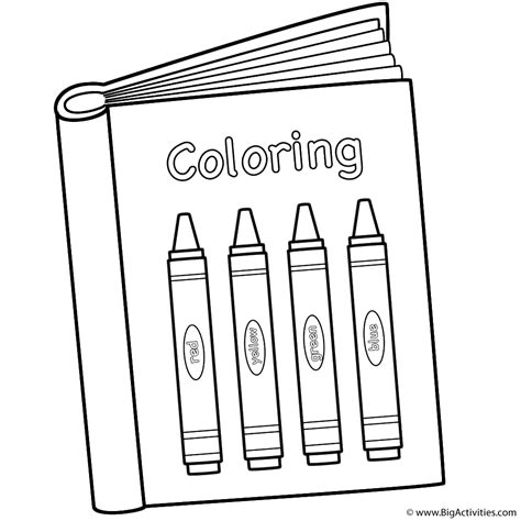 Coloring Book With Crayons Coloring Page 100th Day Of Book Colouring Page