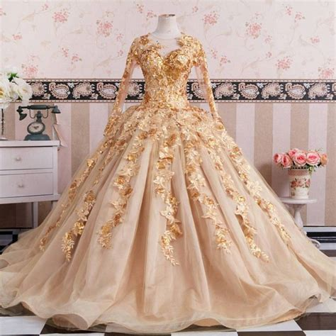Wedding Dress Gold by Gold Sleeves Wedding Dresses Gowns Lace