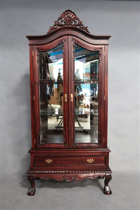antique display cabinets with glass doors antique chippendale style mahogany wood 2 door glass
