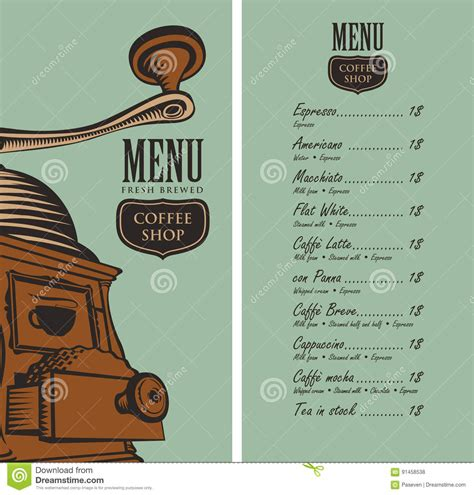 coffee price list template menu for coffee shop with coffee grinder and price stock