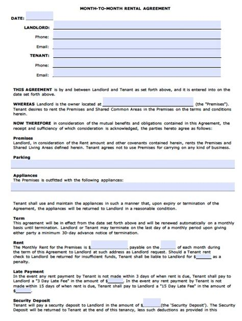 Month To Month Rental Agreement Template free arizona monthly rental agreement pdf template
