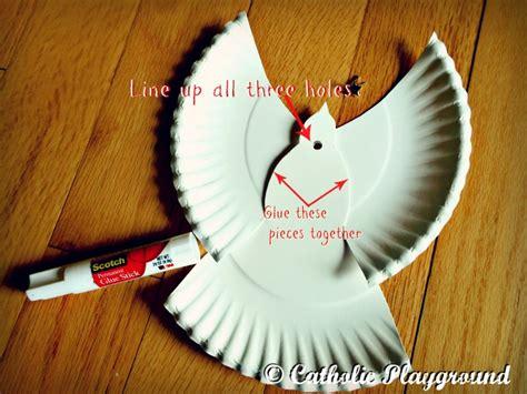Paper Dove Craft - holy spirit scripture wheel catholic playground