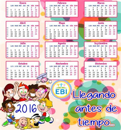 Calendario Didactico Para Niños Calendarios 2016 Con Dibujos Para Ni 241 Os Para Descargar E