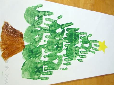 handprint christmas tree on canvas great decoration or