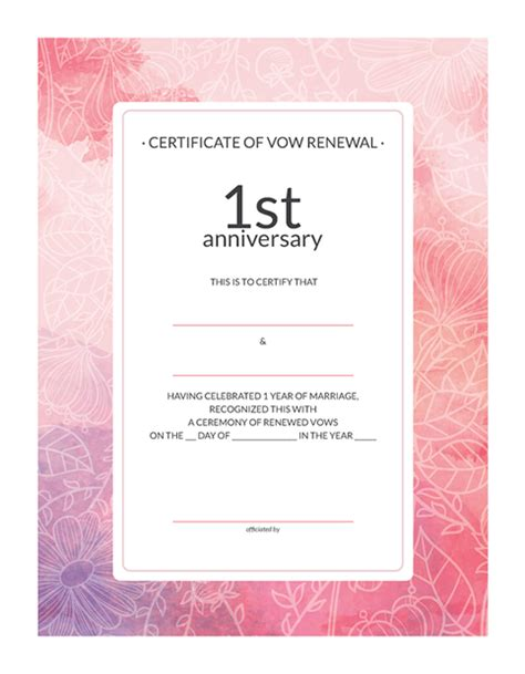 vow renewal certificate template ornate certificate of vow renewal family certificate of