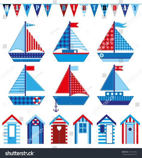 boat birthday clipart happy birthday card cute babys boats stock vector