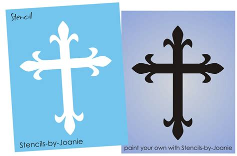 Stencil Fancy Fleur 6 Quot Cross Symbol Christian Inspirational Crafts U Paint Signs Ebay Crosswalk Paint Template