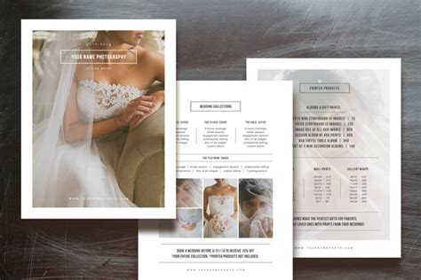 Photographer Pricing Guide Set Flyer Templates On Creative Market Wedding Photography Magazine Template