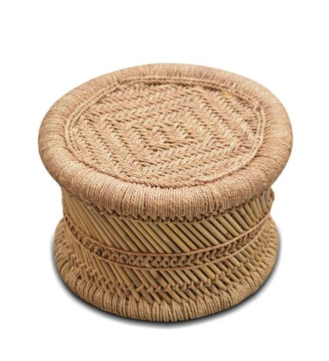 small broad stool with woven jute top set of 2 by