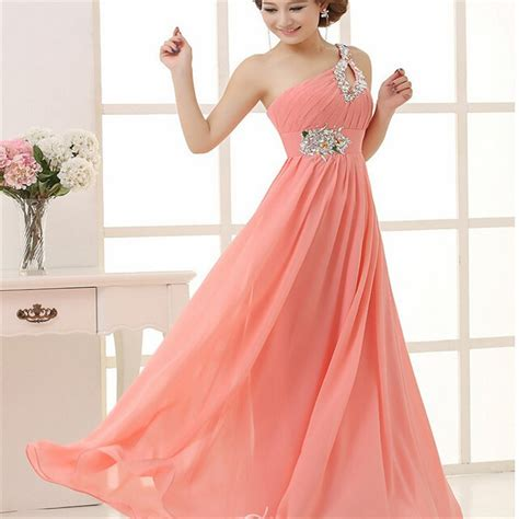 Economical Women Pink Party Dress Night Dress Married Dress Single Shoulder Dress Long Bridal