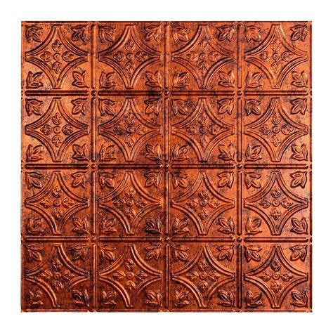 ceiling tiles home depot fasade traditional 1 2 ft x 2 ft lay in ceiling tile in moonstone copper l50 18 the home depot