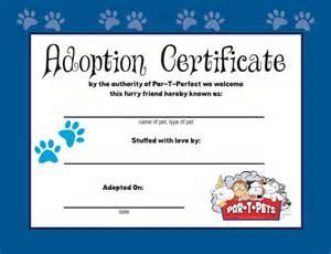 pet adoption certificate template par t pets adoption certificate par t pets usa