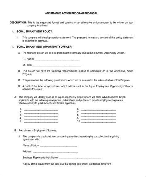 affirmative policy template sle affirmative form 10 free documents in pdf