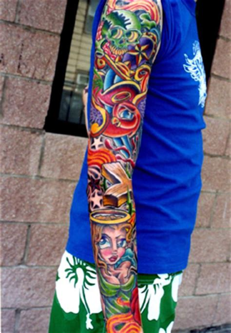 new school tattoo sleeve ideas full sleeve by joshwoods on deviantart