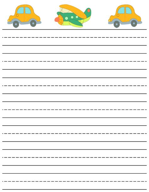 free printable stationary sheets printable writting paper lined cars and plane writing