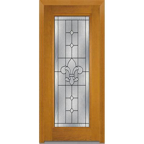 24 Inch Exterior Door Home Depot Milliken Millwork 37 5 In X 81 75 In Carrollton Decorative Glass Lite Oak Finished