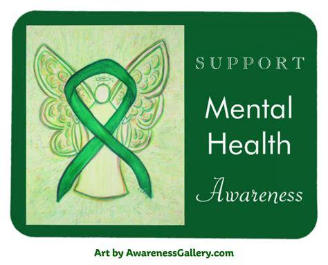 mental health color green mental health awareness ribbon custom gifts and