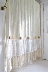 Cottage Shower Curtains Shabby Cottage Chic Shower Curtain Chenille Lace Ruffle