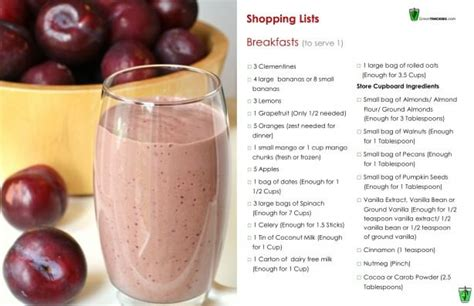 Green Smoothie Detox Diet Plan by Greenthickies 7 Day Diet Plan Shopping List