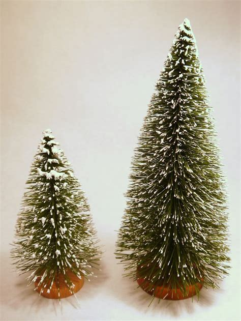 flocked bottle brush christmas trees 1pc