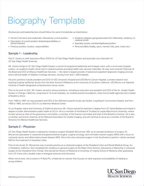 Biography Template Templates Forms Resume Sle Resume Functional Resume Physician Bio Template