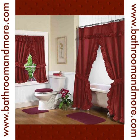 red double swag shower curtain rust red fabric double swag shower curtain with matching