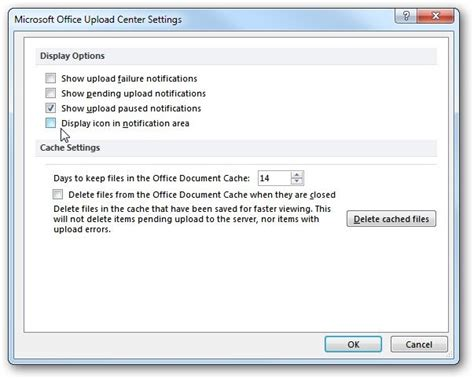 stop office 2010 upload center icon from displaying in the