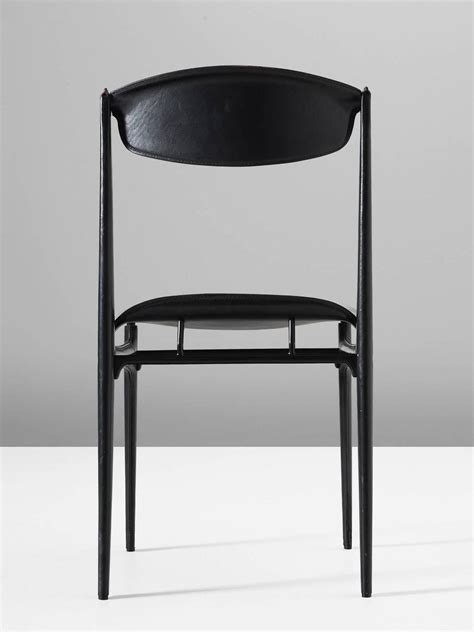 Black Dining Chairs For Sale Set Of Six Dining Chairs In Black Leather For Sale At 1stdibs