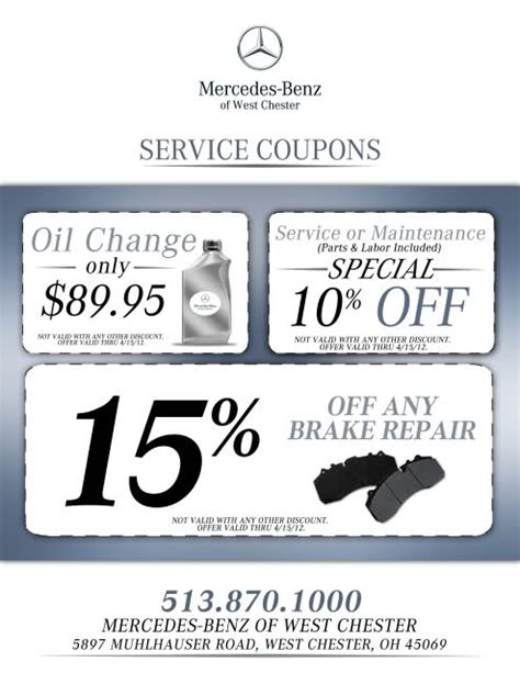 Mercedes Coupon by Mercedes Of West Chester Service Coupon