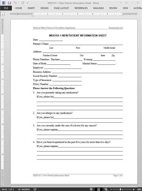 Patient Information Form Template new patient information form template go search