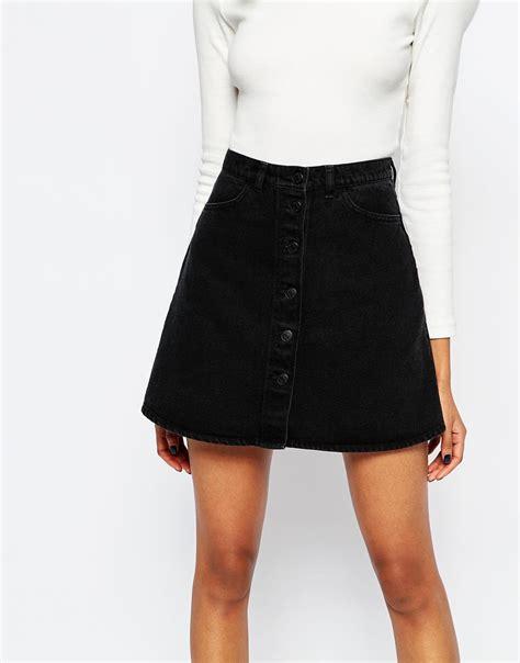 black denim a line skirt redskirtz