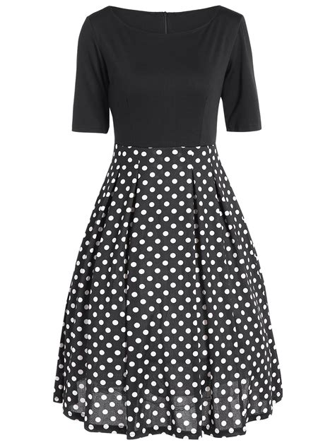 Polka Dot High Waist A Line Dress vintage polka dot splicing high waist dress black xl in