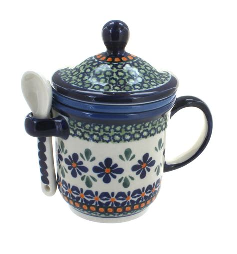 Flower Mug Spoon blue pottery mosaic flower mug with strainer