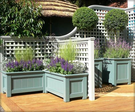 Wooden Garden Planters Ideas Decorative Trellis Planter Boxes And Stained Or Sealed