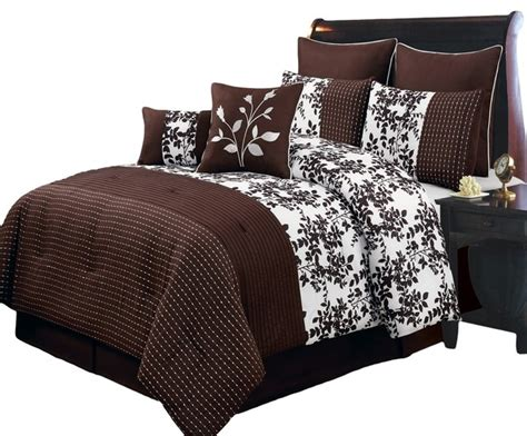 Traditional Comforters by Bliss Chocolate Luxury 8 Comforter Set Cal King