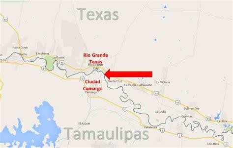mexico texas border map grande city texas ciudad camargo tamaulipas border crossing on the road in mexico