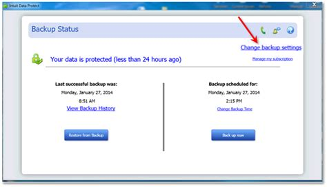 reset quickbooks online data open intuit data protect to check backup status view