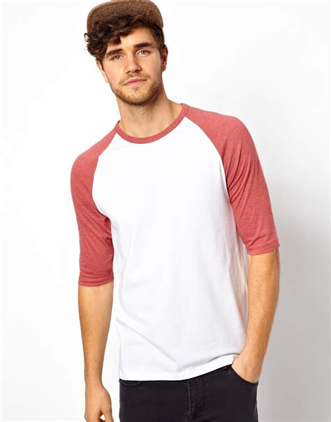 T Shirt Sleeve lyst asos 3 4 sleeve t shirt with contrast raglan sleeves in white for
