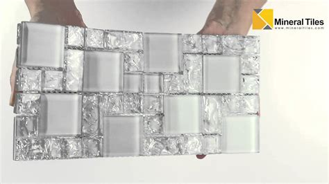 Glass Subway Tiles For Kitchen Backsplash by Crackled Glass Mosaic Tile French Pattern Ice