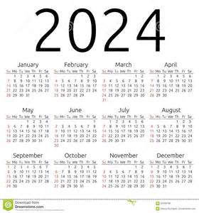 vector calendar 2024 sunday stock vector image 62409188