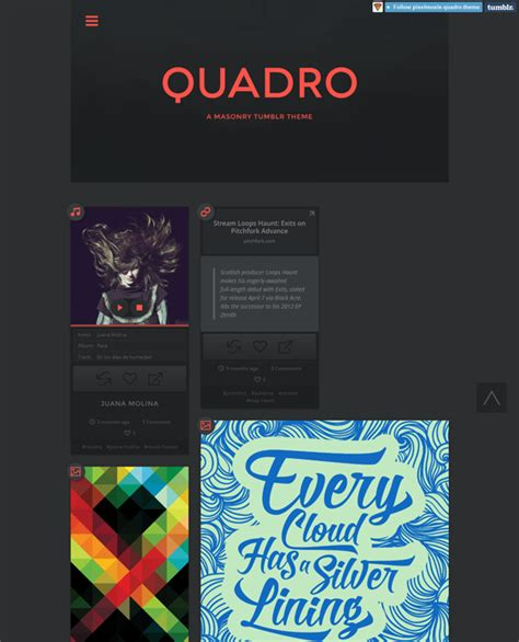 Tumblr Themes Quadro | 22 more of the best masonry tumblr themes down